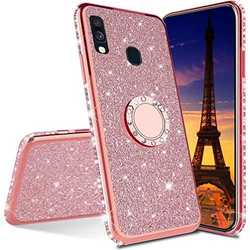 COTDINFOR Huawei Y7 Prime 2019 hülle Glitzer Diamond Handyhülle Bling stoßfest Ring Schnalle Kickstand Plating TPU Schutzhülle Weich Silikon Etui für Huawei Y7 Prime 2019 - Rose Gold Glitter