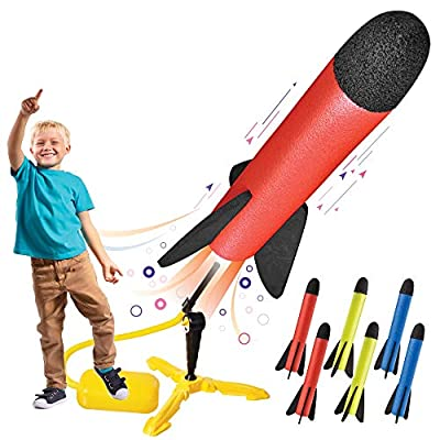 Toy Rocket Launcher for kids – Shoots Up to 100 Feet – 8 Colorful Foam Rockets and Sturdy Launcher Stand With Foot Launch Pad - Fun Outdoor Toy for Kids - Gift Toys for Boys and Girls Age 3+ Years Old by Motoworx