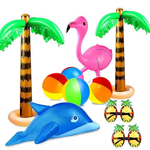 aovowog 10 PCS Palme Gonfiabili Giocattoli Flamingo Gonfiabile Beach Balls Flying Pappagallo Delfino Occhiali da sole ananas per la Decorazione Decorazioni per Feste alle Hawaii Luau Fondale per Feste