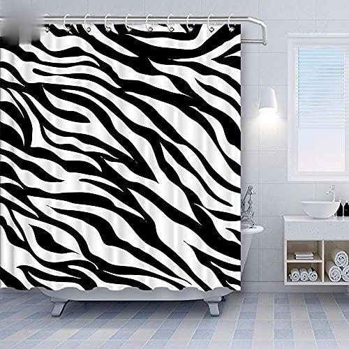 Europeo Zebra Stripe Baño Cortina De Ducha Doméstica Cortina De Ducha Impermeable En Blanco Y Negro 180x180cm
