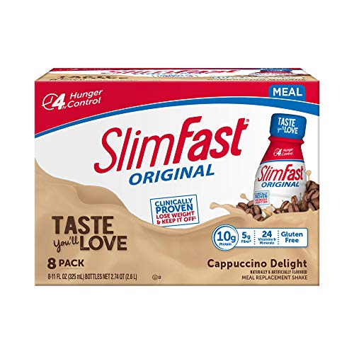 SlimFast Original Cappuccino Delight Shake – Ready to Drink Weight Loss Meal Replacement – 10g of protein – 11 fl. oz. Bottle – 8 Count - Pantry Friendly
