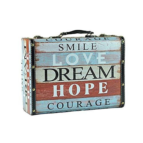 Las maletas de almacenamiento Vintage retro Cofre del tesoro de madera decorativa Caja de almacenamiento Maleta...
