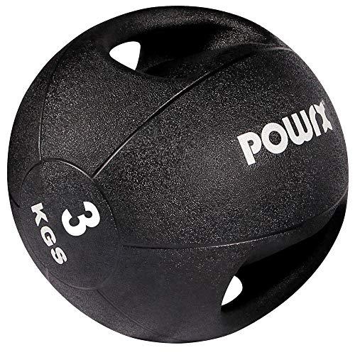 POWRX - Palla Medica con Maniglie 5 kg + PDF Workout (Nero)