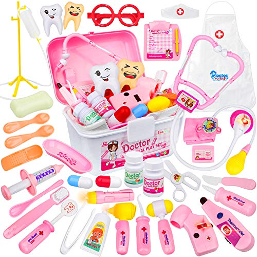 35 Stück Kinder Arztkoffer, Doktorkoffer Rollenspiel Doktor Kostüm Stethoskop Spielzeug für Kinder ab 3 Jahre