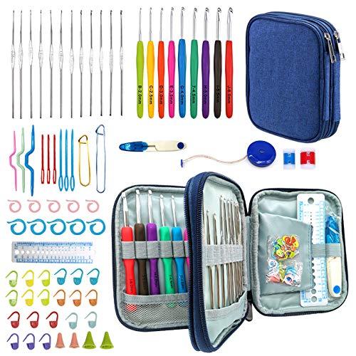 Ganchillos Crochet, 72 piezas Juego de ganchos de ganchillo ergenómicos 21 Accesorios de kit de inicio de ganchillo de tamaño completo Juego de agujas de tejer con estuche de almacenamiento (azul)