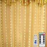 Mitening LED USB Lichtervorhang 3m x 3m, 300 LED Lichterkettenvorhang mit 8 Modi Lichterkette Gardine für Schlafzimmer Partydekoration Innenbeleuchtung Weihnachten Deko Warmweiß,...