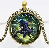 Collar con colgante de bronce con logotipo de unicornio prismático, cadena de bronce, para hombre, accesorio de vestido