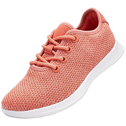 DYKHMATE Zapatillas Running Mujer Impermeable Zapatos para Gimnasio Ligero Respirable Zapatillas de Deporte Fibra Sneakers Pies Descalzos(Naranja,37 EU)