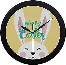 Modern Simple Easter Bunny Handwritten Headline Happy Easter Wall Clock Indoor Non-Ticking Silent Quartz Quiet Sweep Movement Wall Clcok for Office,Bathroom,livingroom Decorative 9.65 Inch