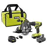 Ryobi P1816 18V Drill and Circular Saw Starter Kit with Two 1.5Ah Batteries and Charger