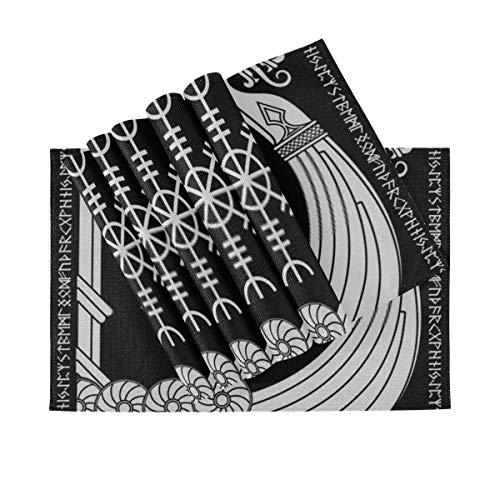 Mantel individual Warship Vikings Drakkar, diseño escandinavo antiguo, tapetes antideslizantes resistentes al calor, adecuados para mesa de comedor, hogar, cocina, oficina y exteriores, juego de 6