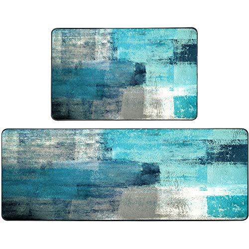 """Rugs for Kitchen Floor,TOMWISH Abstract Area Rug Turquoise and Grey Abstract Art Painting 17""""X48""""+17""""X24"""" Non-Slip Kitchen Rug Set for Kitchen Dining Room,Floor Home,Office,Sink,Laundry"""