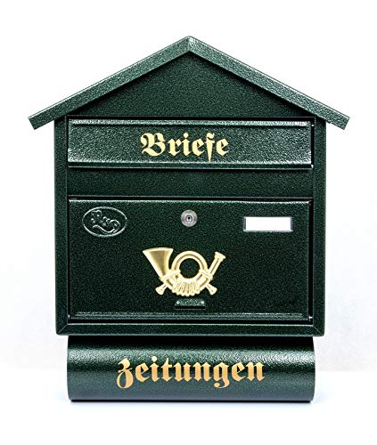 Pachurka & Dąże Großer Briefkästen XXL Zeitungsrolle Retro Design Antik Grün T3/T 0.8mm Stark