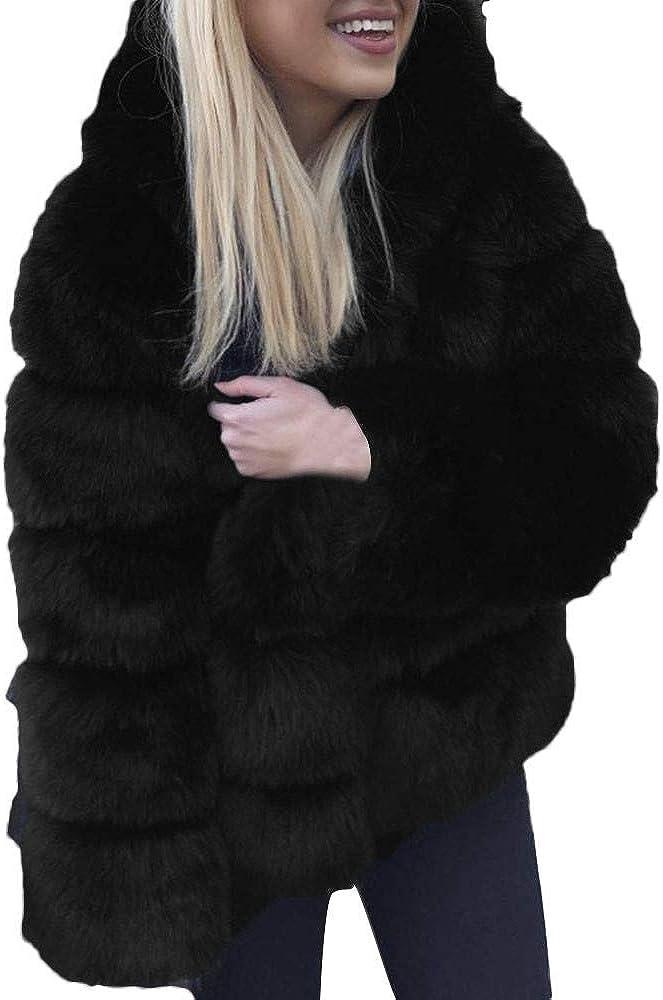 TRENDINAO Women's Thick Faux Coat,Casual Winter Warm Luxury Fur