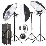 Godox SK300-D 3 * 300WS Studio Photo Strobe Flash Kit 3 * Light Stand / 1 * Softbox / 1 * Reflector Umbrella / 1 * Soft Umbrella / 1 * Flash Trigger / 1 * Shade / 1 * Carry Bag