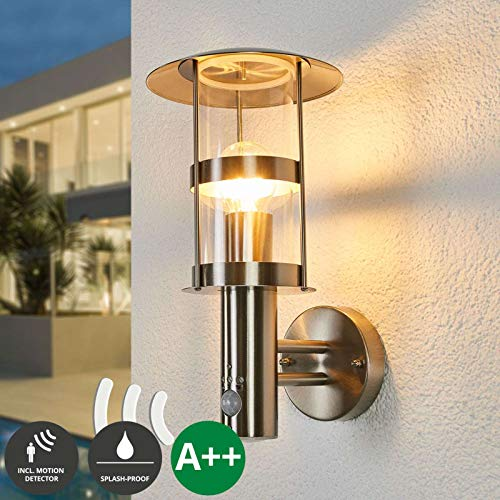 Lampenwelt Wandleuchte außen 'Noemi' mit Bewegungsmelder (spritzwassergeschützt) (Modern) in Alu aus Edelstahl (1 flammig, E27, A++) - Außenlampe, Wandlampe für Outdoor & Garten Außenwand/Hauswand