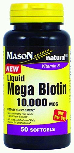 Mason Natural Mega Biotin Liquid Soft Gels, 10,000 Mcg, 50 Count