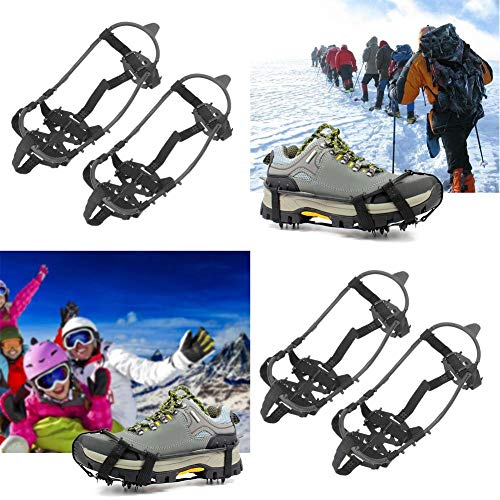 Demiawaking Ramponi da Ghiaccio per Scarpe Universale 24 Denti Ramponcini Antiscivolo per Scarpe Copriscarpe Ramponi da Ghiaccio e Neve per Escursionismo Campeggio Alpinismo (M(24-39))