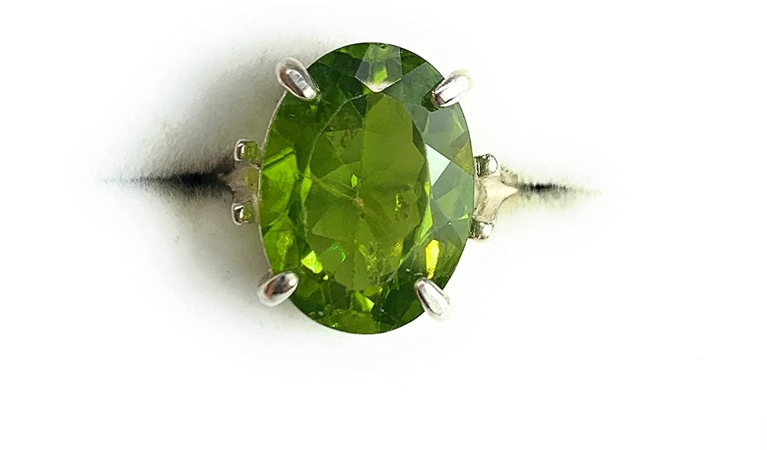 Certified Peridot Ring 7.46 Natural Max 86% New Free Shipping OFF Carat Silv Sterling