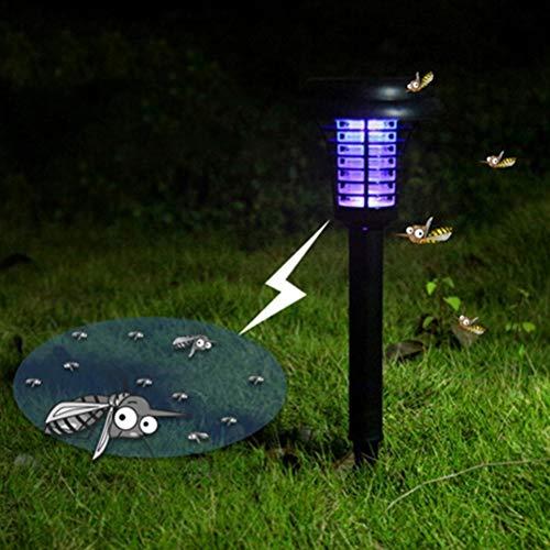 Mobestech Solar Mosquito Killer, Metal Mesh Cover Solar Mosquito Lamp, Solar Mosquito Zapper for Garden Porch Patio Backyard (2 PCS, Black)