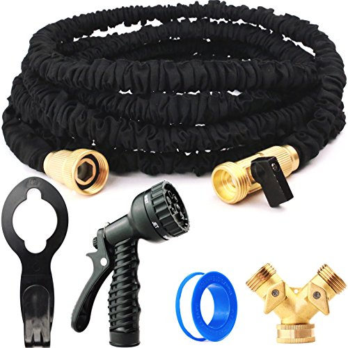 New Version FULL SET 50ft Heavy Duty Expandable Hose, Upgraded Brass Fittings, Shut-off Valve, Flexible, Expanding Garden and Utility Water Hose, 50 foot, Sprayer, Hanger, Splitter Adapter, Tape