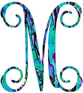 Letter M Monogram Initial Vinyl Decal | Personalized Monogrammed M Sticker for Yeti Cup Tumbler, Laptop, Hydroflask, Water Bottle, or Car Window Accessories for Women | 3.25 inches, Abalone Pattern
