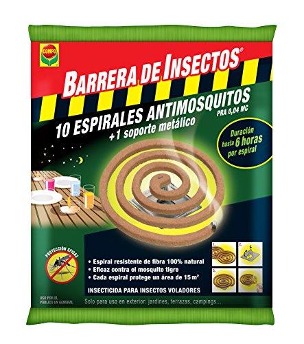 Compo Repelente Barrera de Insectos antimosquitos, Protección contra Mosquitos y Avispas, Incl. 10 espirales y Soporte metálico, 17x11x1.5 cm
