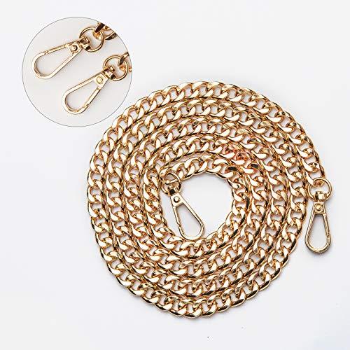 KIMI-HOSI Taschenkette 120cm Handtaschenketten Flache Kette Tasche Schultergurt Ersatz Kette Gold Metall Schulterriemen für Damen Umhängetasche Geldbörse Handtaschen