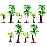 Xinlie Palme da Cocco Modello Alberi Plastic Coconut Palm Tree Miniature Vasi Bonsai Craft Mini Scenery Paesaggio Modelli di plastica Alberi per Mini Landscape Landscape Design (10 PZ)