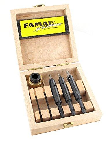 FAMAG 3577 4-teiliger Bohrer-Senker-Satz 4, 5 und 6mm + Tiefenanschlag, im Holzkasten