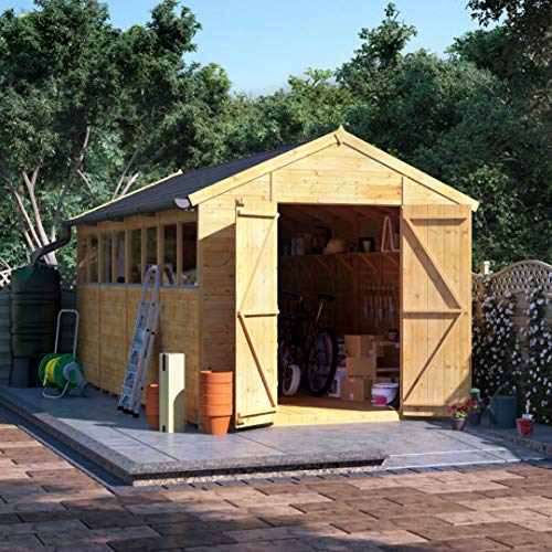 BillyOh Expert Tongue and Groove Apex Workshop | Garden Storage Shed | Floor, Roof and Felt Included | Windowed or Windowless Options- Multiple Sizes (16x8 Windowed)