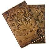 Inserciones de Cuaderno de Viaje Vintage - Papel En Blanco Antiguo Con Borde de Cubierta Hecho A Mano - Juego de 2 Repuestos de Diario de Viaje Para Diarios de Viaje de Cuero, Escritores, 21x14 cm