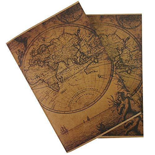 Taccuino Vintage Wanderings ad Inserimento - Bordi Antichi Fatti a Mano per Carta Bianca - Set di 2 Ricariche di Carta per Taccuino da Viaggio in Pelle, per Scrittori, Diari 21x11cm