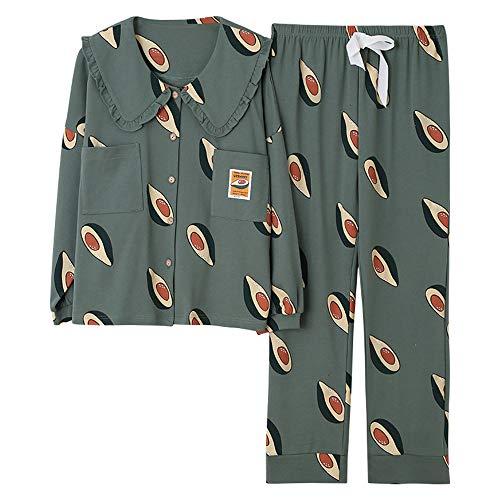 WYX Damen Frühlings-Sommer-Pyjamas Set Frauen 2 PC Nachtwäsche Pyjama Femme Langarm Plus Size Homewear Schlaf Lounge Nachthemden,a,XL