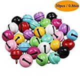 Yeesun 30pcs 0.86in/22mm Jingle Bells Multi-Colored Craft Bells Christmas Bells DIY Bells for Festival Decoration Home Decoration Party Decorations Ornaments Jewelry Making Dog Doorbells