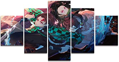 5 Pieces HD Anime Boy and Girl Wall Picture Demon Killer Comic Art Canvas Painting Mural Home Decoration