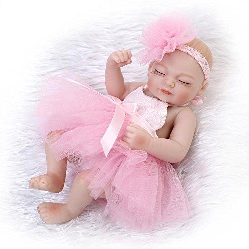 Nicery 10 Pulgadas Renacido de la Reborn muñeca del silicón Duro Vinilo 26cm a Prueba de Agua de Juguete de Color Rosa Vestido de niña de Ojos se cierran Reborn Baby Reborn Doll