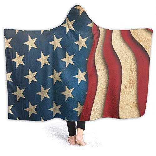 XCNGG Manta con capucha con bandera de Estados Unidos, resistente al viento, acogedora manta para sofá, manta térmica con capucha, manta de franela duradera con capucha para hombres y mujeres