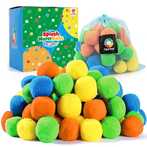 48 Pack Water Balls Toy, Reusable Splash Water Balls with Bag for Kids & Adults Anytime Party Favors Toys,Activity Pool and Beach Fun Perfect for Outdoor Play
