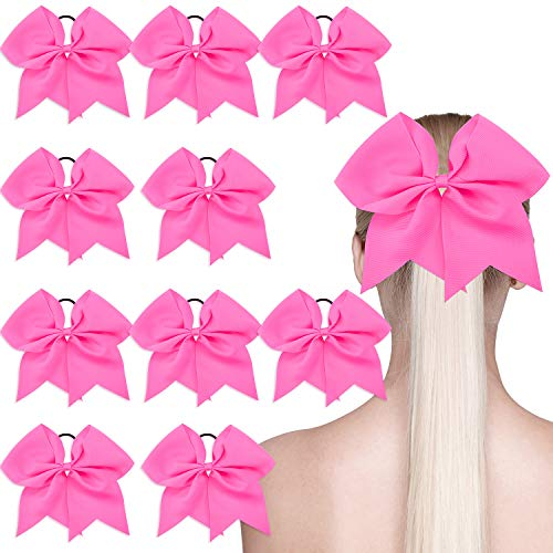 10 Pieces Breast Cancer Awareness Cheerleading Hair Bow Hair Tie Ponytail Holder Cheerleader Bow Large Hair Bow, Hot Pink, 7 inch