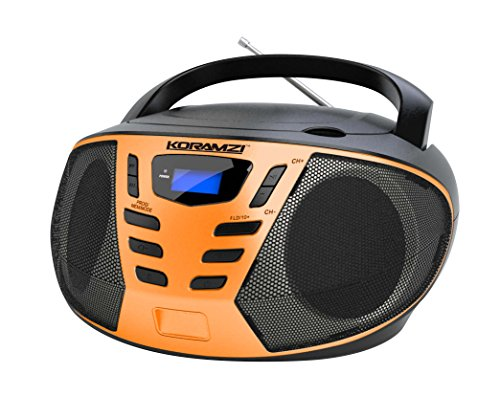 KORAMZI Portable CD Boombox with AM/FM Radio,AUX IN, Top Loading CD Player,Telescopic Antenna, LCD Display for Indoor & Outdoor,Offices,Home,Restaurants,Picnics,School,Camping (Black/Orange) CD55-BKO
