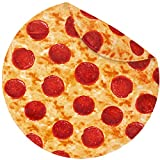 Jorbest Pizza Blanket 2.0 Double Sided for Adult and Kids, Burritos Tortilla Blanket 285 GSM Flannel Blanket, Giant Pizza Throw Blanket Food Blanket for Everyone, Diameter 60 inch, Red
