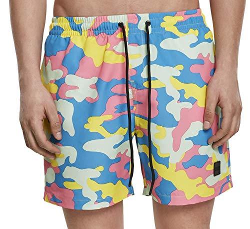 Urban Classics Swim Shorts Bañador, Multicolor (Happy Camo 02062), Large para Hombre