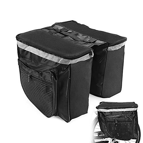 Punvot Fahrrad Gepäckträger Tasche, Gepäckträgertasche, Fahrradtasche Doppeltasche, Fahrradtasche Hinter, Fahrrad Satteltasche Multifunktionale, Transporttasche Gepäcktasche Reflective Tape