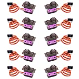 RGBZONE 10Pcs MG90S Geared Micro Servo Motor 9G for Helicopter Airplane Boat Smart Robot Car Controls