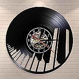 Nzlazbc Reloj de Pared con Registro de Vinilo para Pianista, Teclado de Piano con Ondas de Sonido, Reloj de Pared artístico, decoración Musical para el hogar, Regalo para Amantes de la música clásica