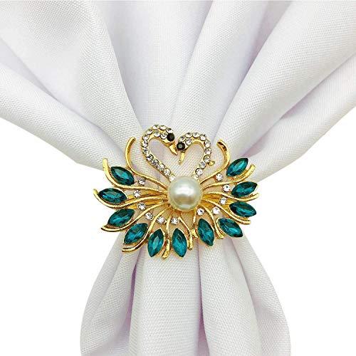 Fransande - Lote de 6 anillos de servilleta para San Valentín, anillos de servilleta de boda, pavo real, decoración de mesa para bodas, San Valentín