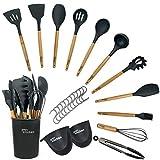 Juego de utensilios de cocina de 14 piezas   Utensilios cocina de silicona gris resistentes al calor   Utensilios de cocina con mango de madera premium