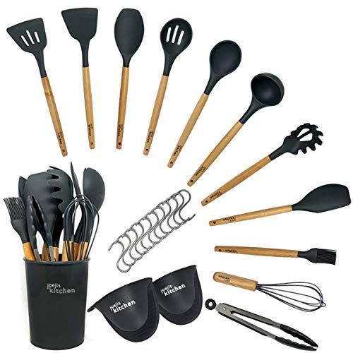 Kit de 14 ustensiles de cuisine | Ustensiles de cuisine silicone gris résistants à la chaleur | Ustensiles de cuisine bois de qualité