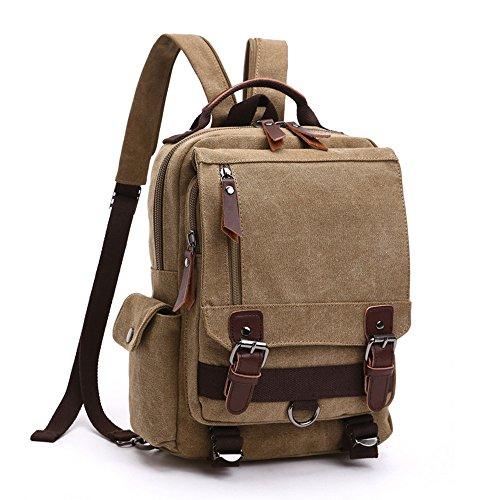 LOSMILE Mochila Hombres Mujer Lona Bolso de Bandolera La Bolsa de Mensajero Bolsa de Lona Bolsa de Hombro Messenger Bag Backpack. (Caqui)